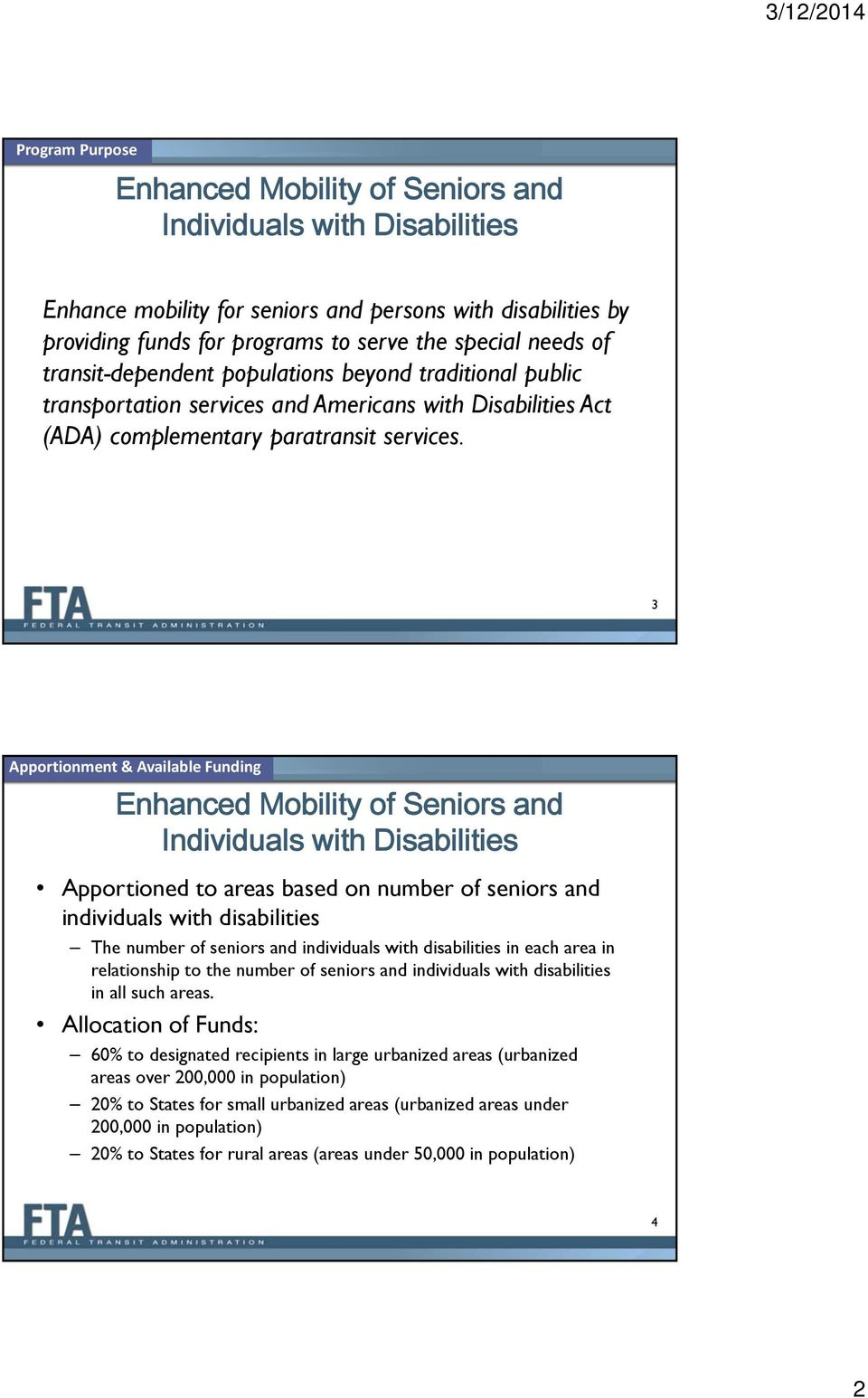 3 Apportionment & Available Funding Apportioned to areas based on number of seniors and individuals with disabilities The number of seniors and individuals with disabilities in each area in