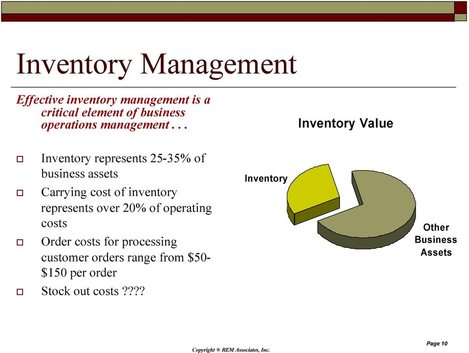 .. Inventory Value Inventory represents 25-35% of business assets Carrying cost of inventory