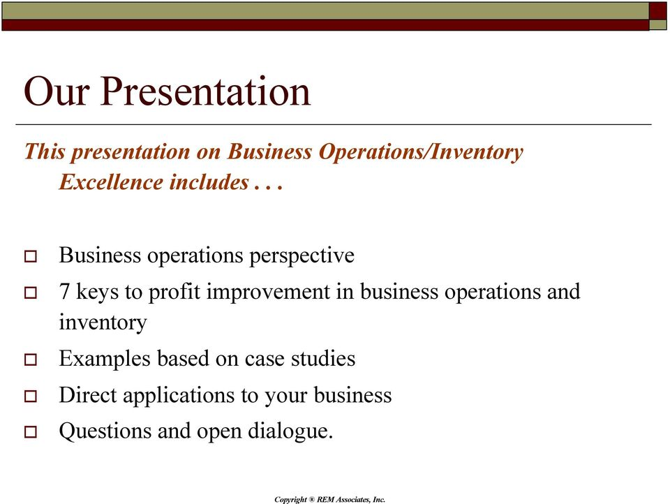 .. Business operations perspective 7 keys to profit improvement in