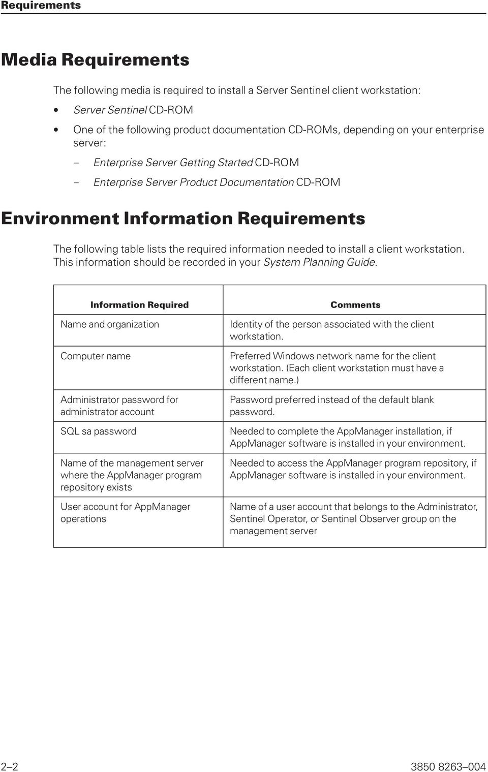 information needed to install a client workstation. This information should be recorded in your System Planning Guide.