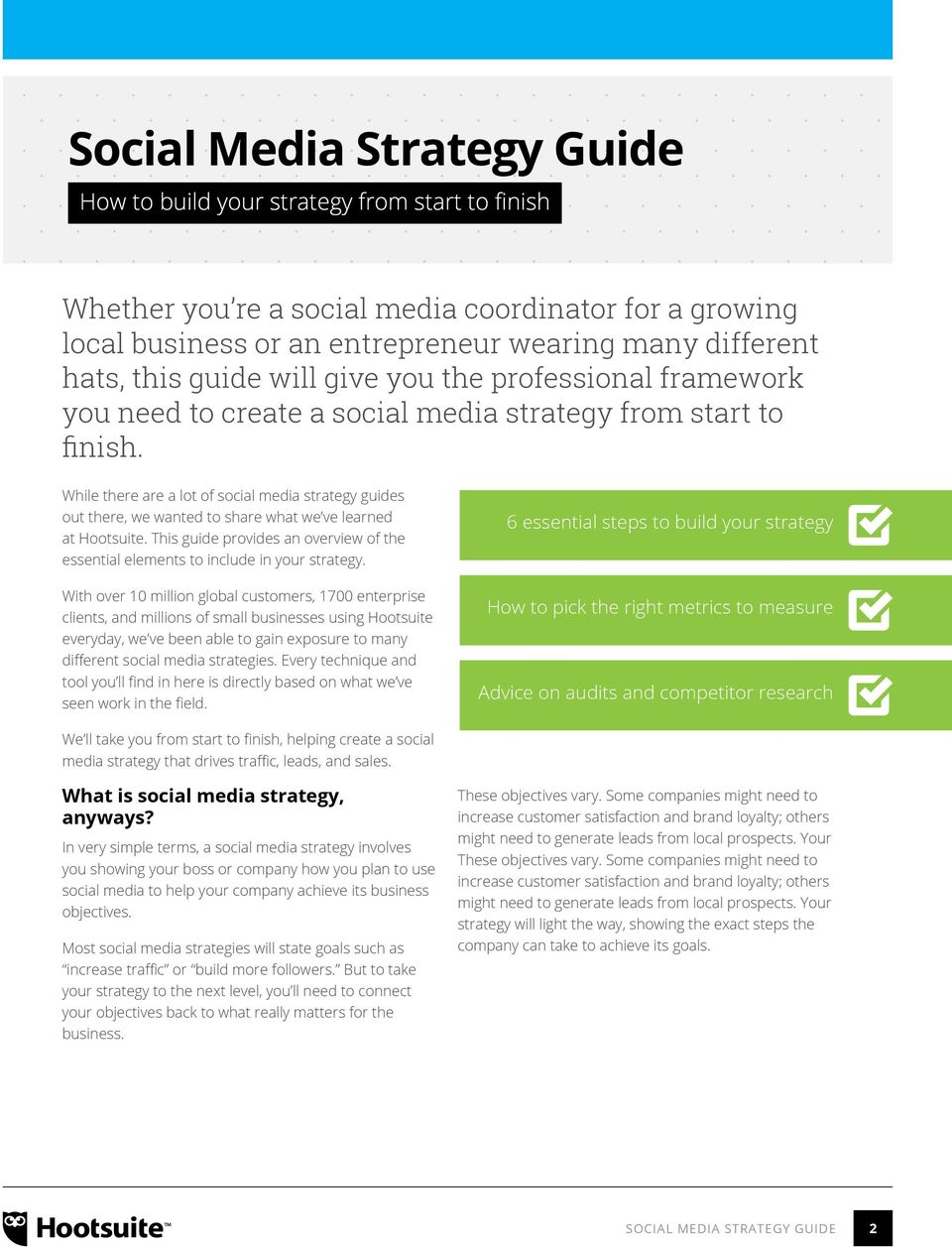 While there are a lot of social media strategy guides out there, we wanted to share what we ve learned at Hootsuite.