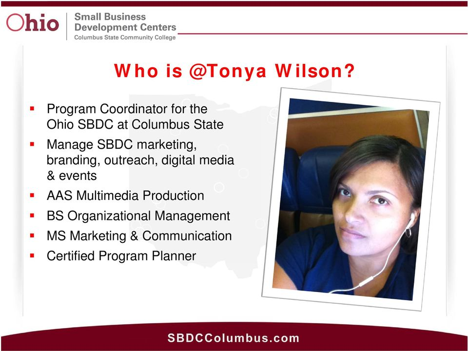 SBDC marketing, branding, outreach, digital media & events AAS