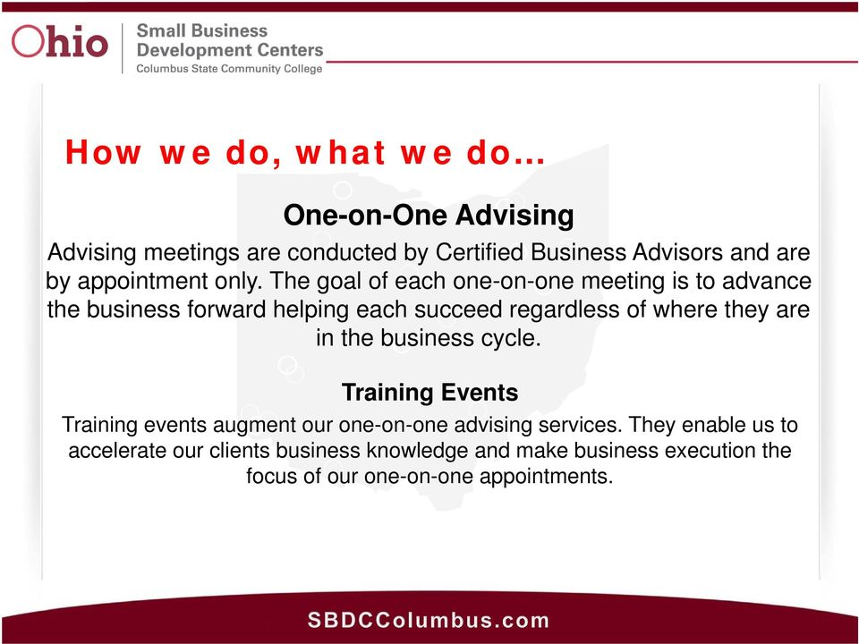 The goal of each one-on-one meeting is to advance the business forward helping each succeed regardless of where they are