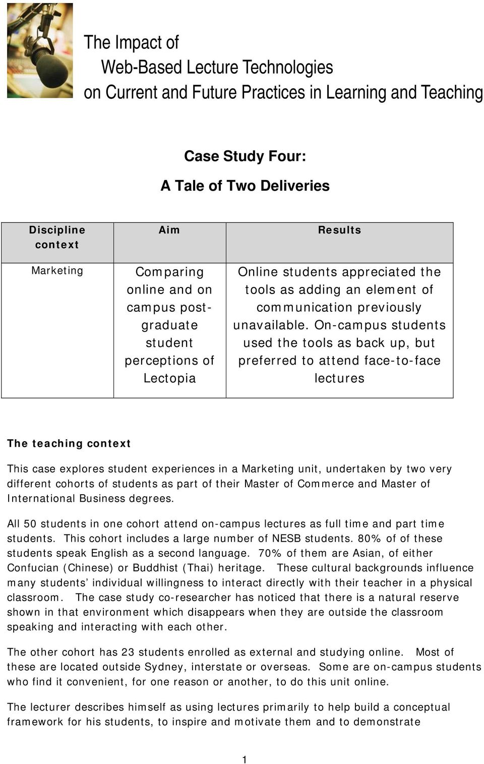 On-campus students used the tools as back up, but preferred to attend face-to-face lectures The teaching context This case explores student experiences in a Marketing unit, undertaken by two very