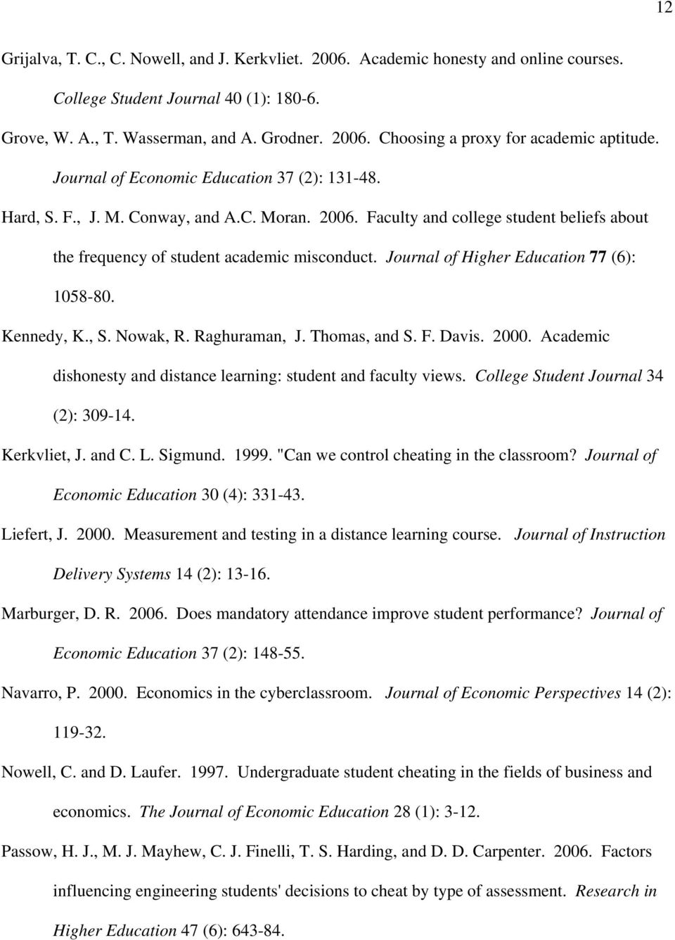 Journal of Higher Education 77 (6): 1058-80. Kennedy, K., S. Nowak, R. Raghuraman, J. Thomas, and S. F. Davis. 2000. Academic dishonesty and distance learning: student and faculty views.