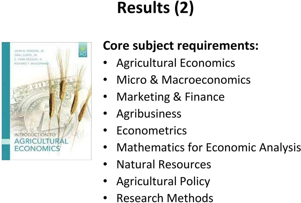Agribusiness Econometrics Mathematics for Economic