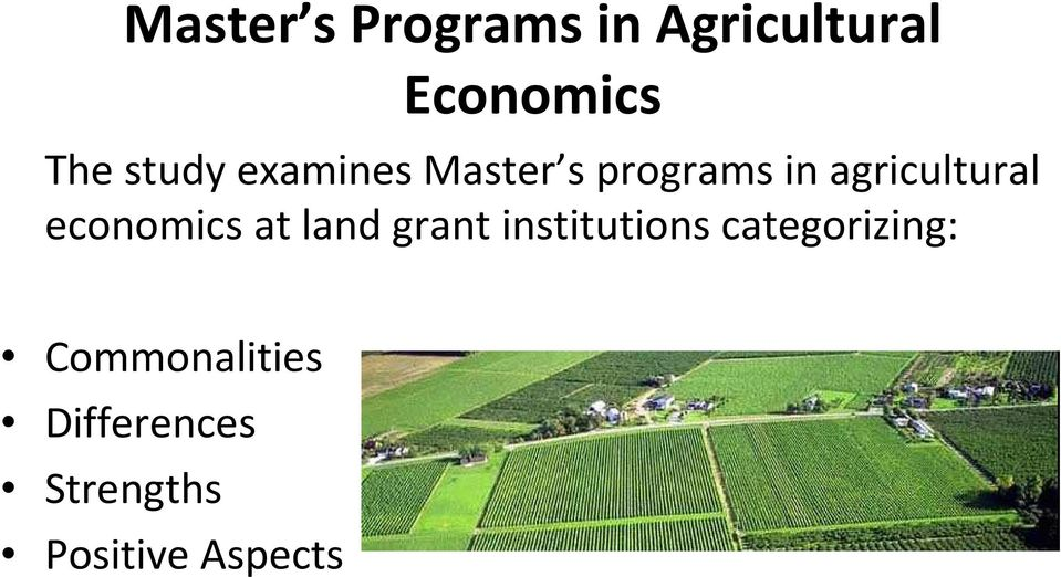 economics at land grant institutions