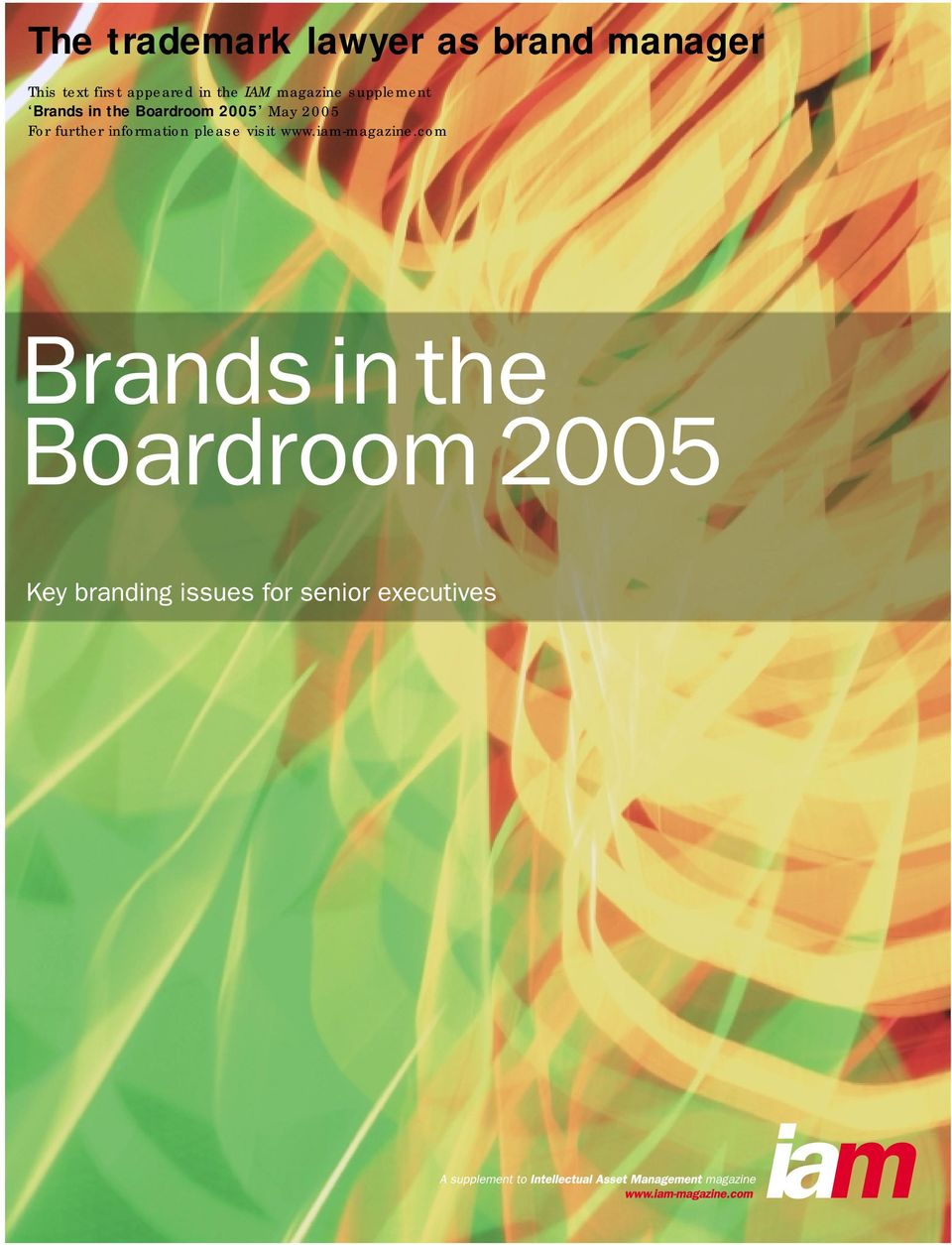 Brands in the Boardroom 2005 May 2005 For