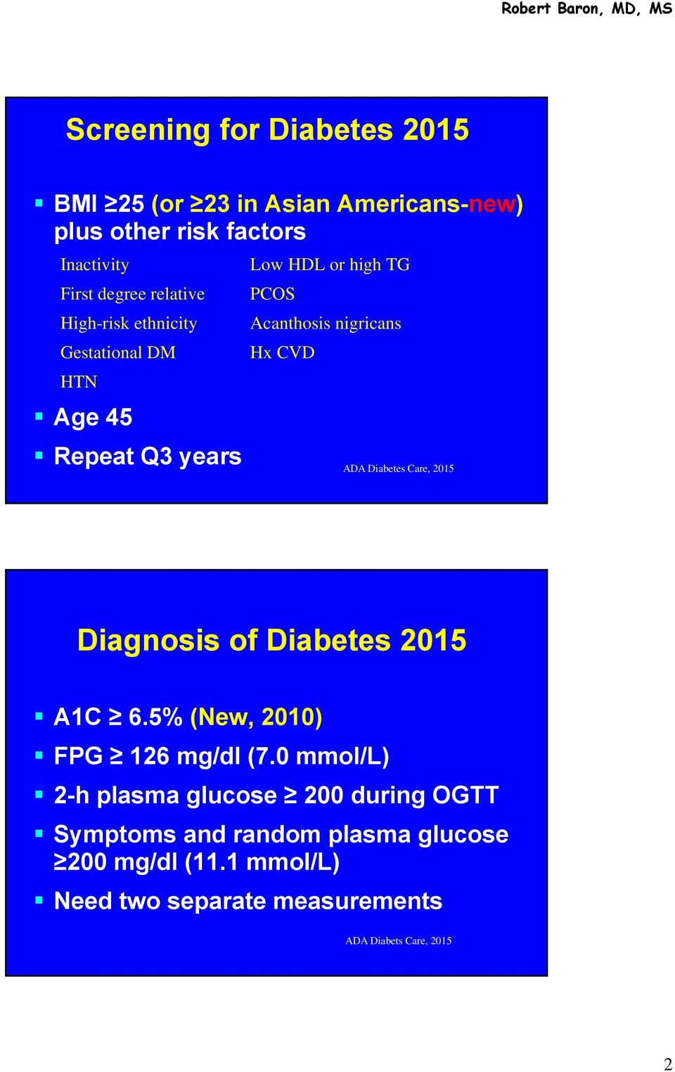 years ADA Diabetes Care, 2015 Diagnosis of Diabetes 2015 A1C 6.5% (New, 2010) FPG 126 mg/dl (7.