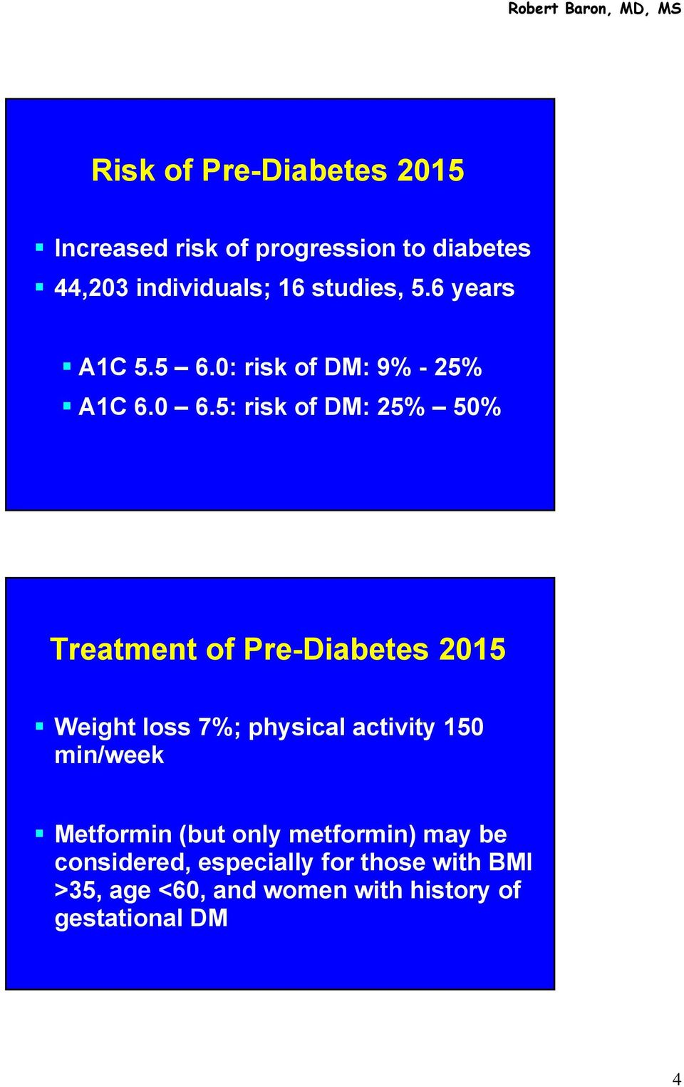 5: risk of DM: 25% 50% Treatment of Pre-Diabetes 2015 Weight loss 7%; physical activity 150