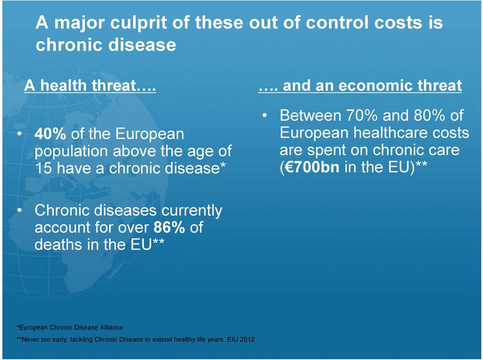 and an economic threat Between 70% and 80% of European healthcare costs are spent on chronic care ( 700bn in the