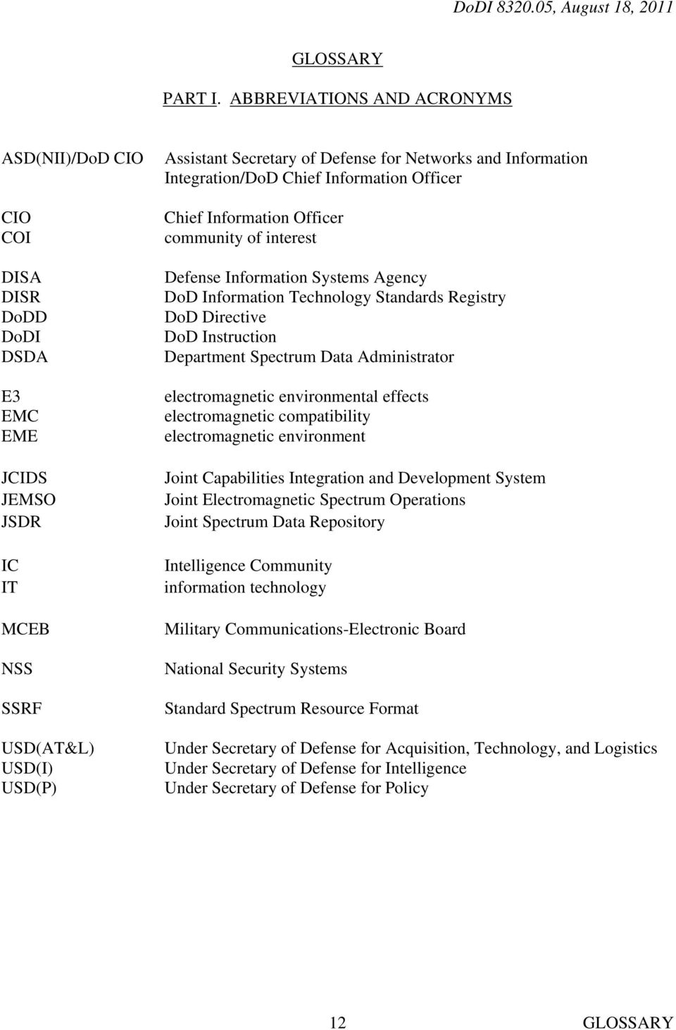 Information Integration/DoD Chief Information Officer Chief Information Officer community of interest Defense Information Systems Agency DoD Information Technology Standards Registry DoD Directive