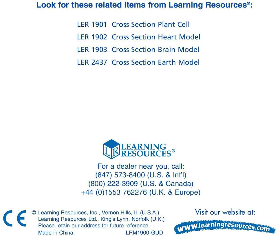 S. & Canada) +44 (0)1553 762276 (U.K. & Europe) Learning Resources, Inc., Vernon Hills, IL (U.S.A.) Learning Resources Ltd.