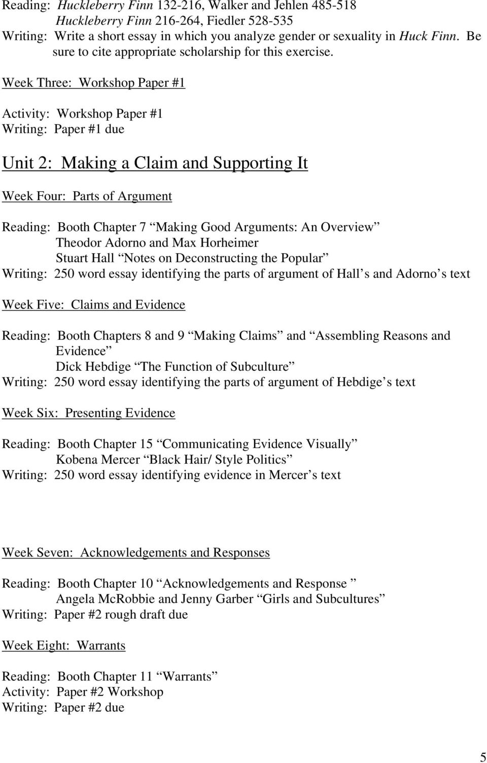 Week Three: Workshop Paper #1 Activity: Workshop Paper #1 Writing: Paper #1 due Unit 2: Making a Claim and Supporting It Week Four: Parts of Argument Reading: Booth Chapter 7 Making Good Arguments: