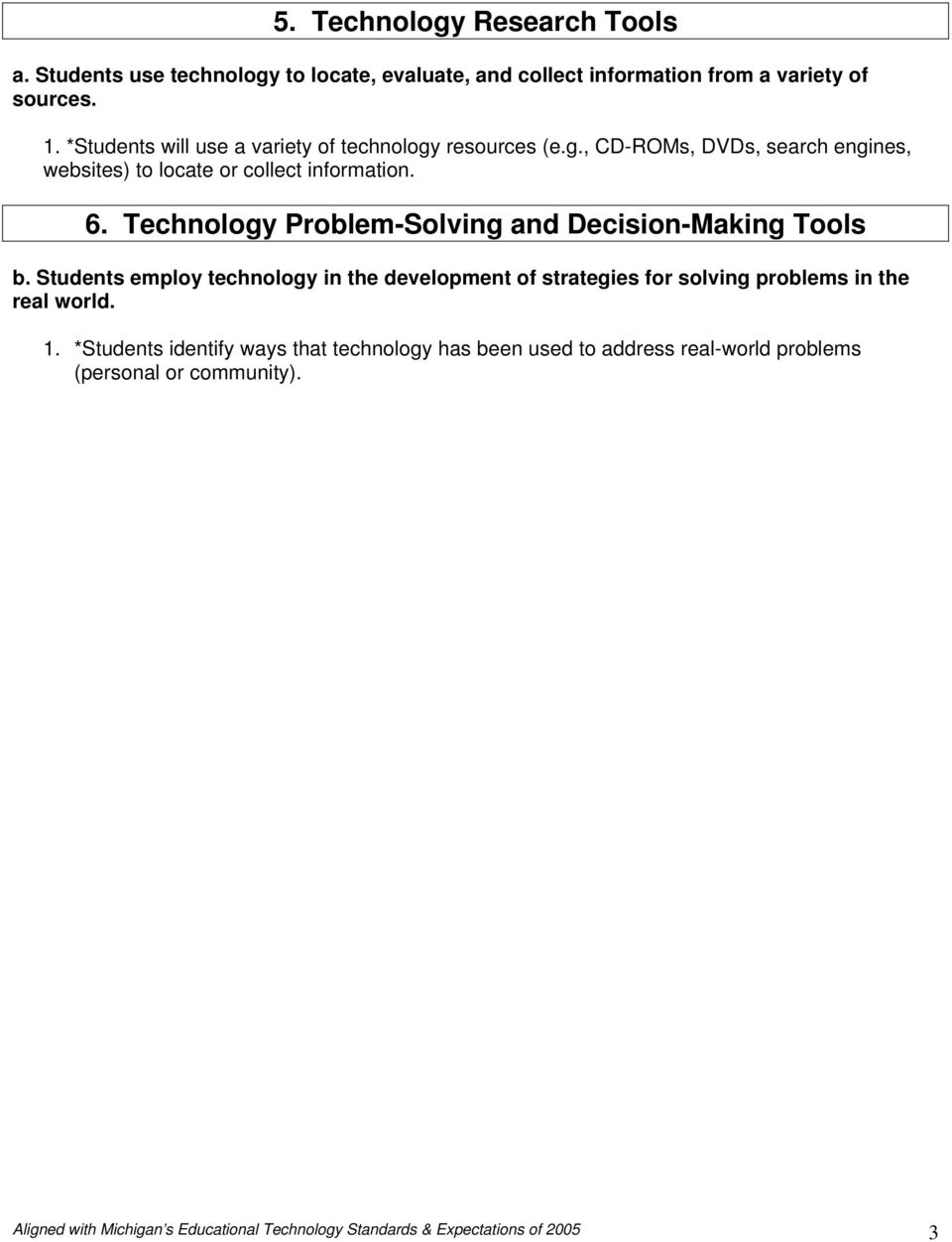 Technology Problem-Solving and Decision-Making Tools b. Students employ technology in the development of strategies for solving problems in the real world.