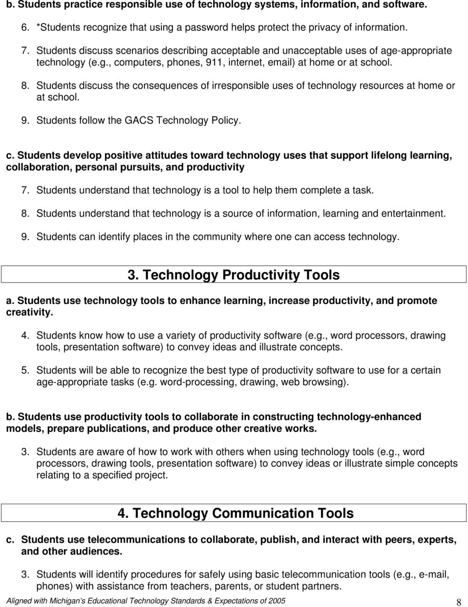 Students discuss the consequences of irresponsible uses of technology resources at home or at school. 9. Students follow the GACS Technology Policy. c. Students develop positive attitudes toward technology uses that support lifelong learning, collaboration, personal pursuits, and productivity 7.