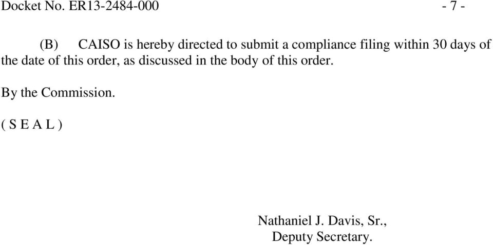 compliance filing within 30 days of the date of this order,