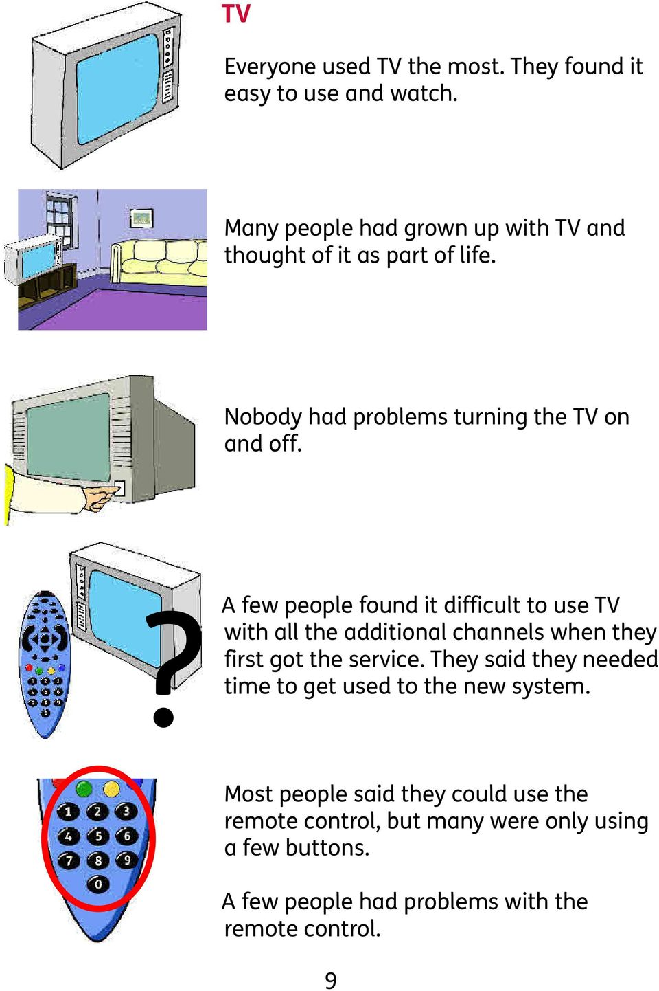 ? A few people found it difficult to use TV with all the additional channels when they first got the service.