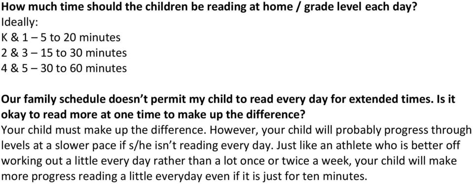 Is it okay to read more at one time to make up the difference? Your child must make up the difference.