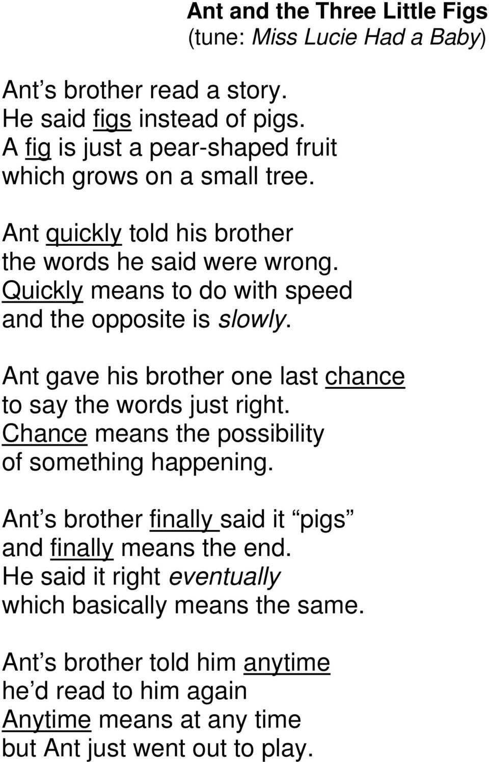 Quickly means to do with speed and the opposite is slowly. Ant gave his brother one last chance to say the words just right.