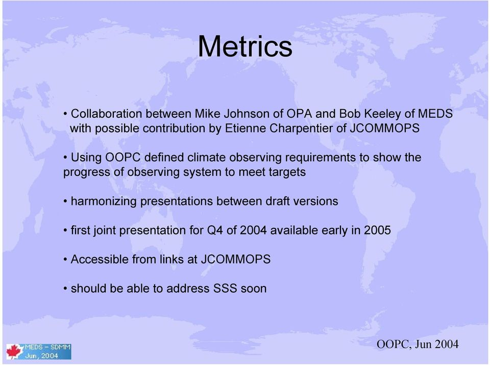 observing system to meet targets harmonizing presentations between draft versions first joint