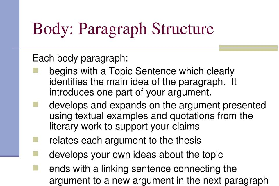 develops and expands on the argument presented using textual examples and quotations from the literary work to support