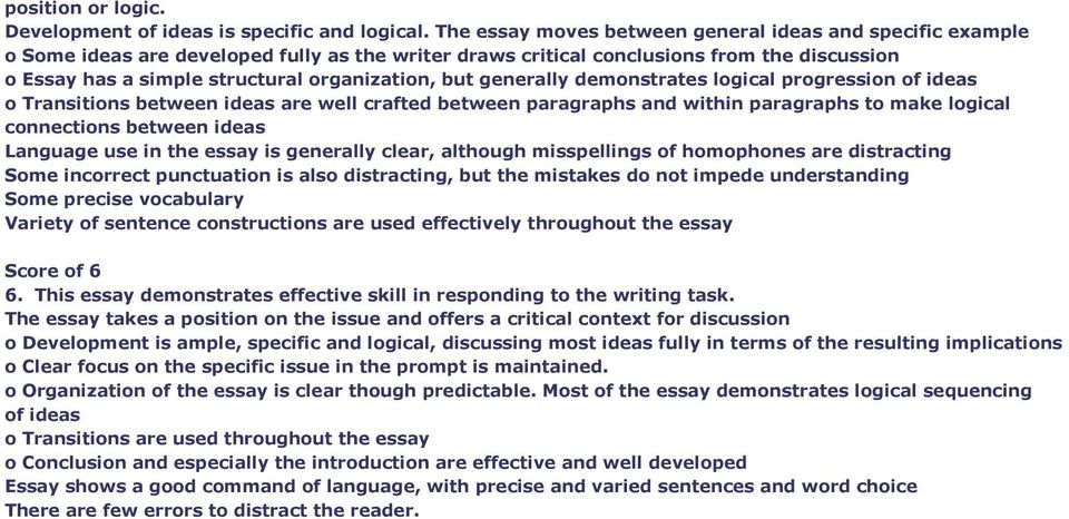 but generally demonstrates logical progression of ideas o Transitions between ideas are well crafted between paragraphs and within paragraphs to make logical connections between ideas Language use in