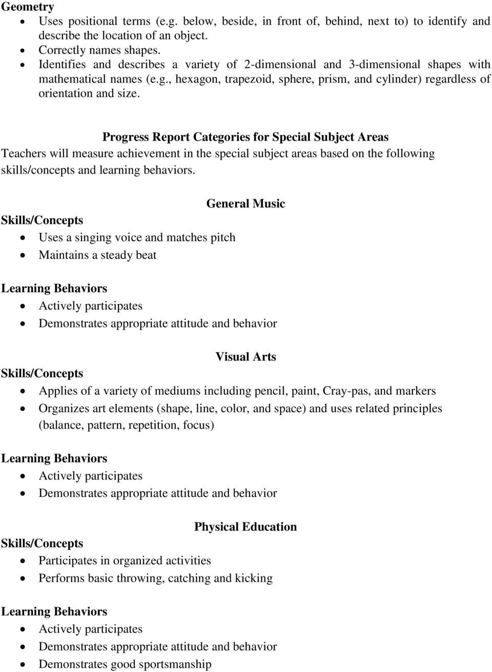 Progress Report Categories for Special Subject Areas Teachers will measure achievement in the special subject areas based on the following skills/concepts and learning behaviors.