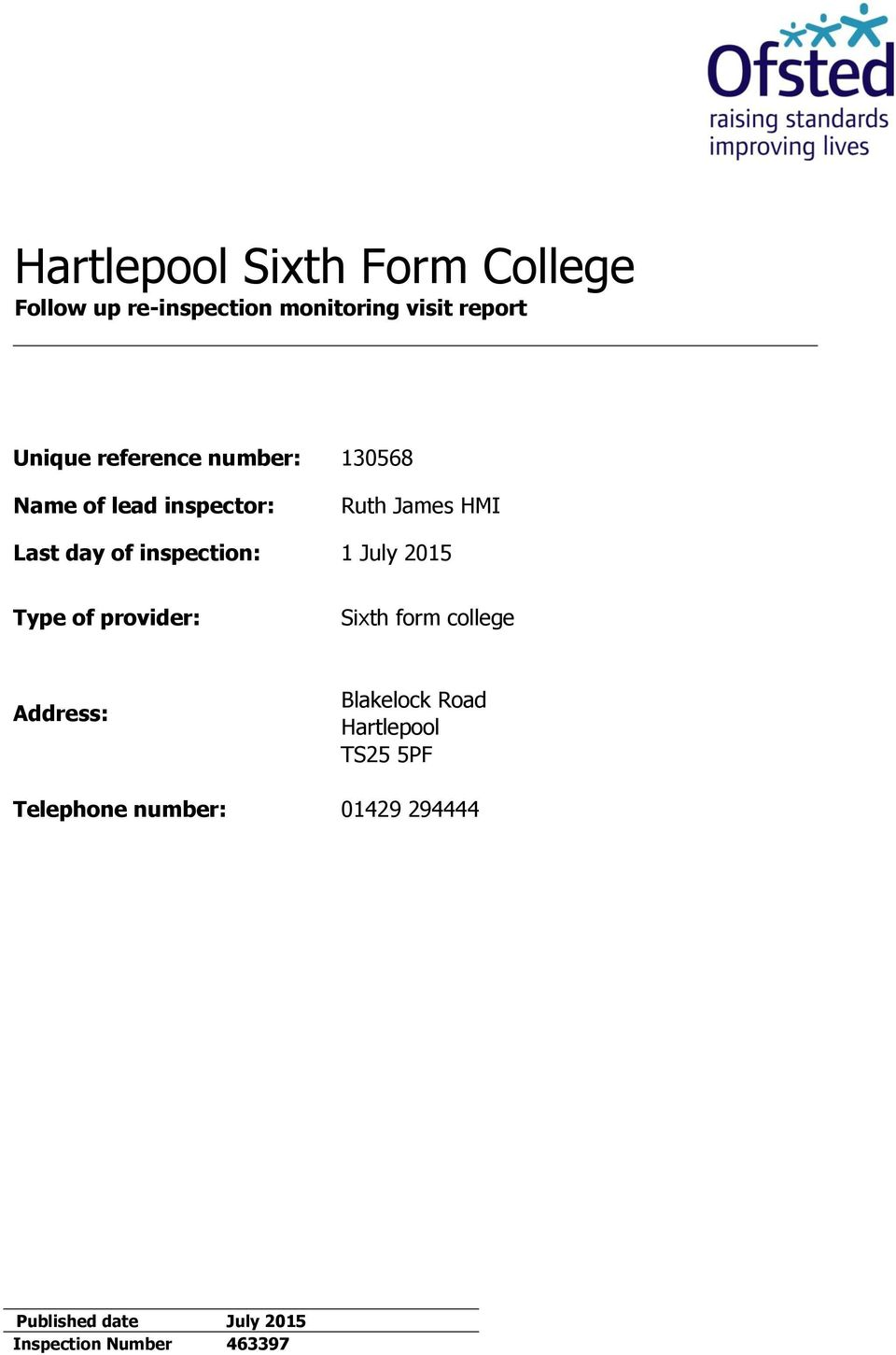 inspection: 1 July 2015 Type of provider: Sixth form college Address: Blakelock Road