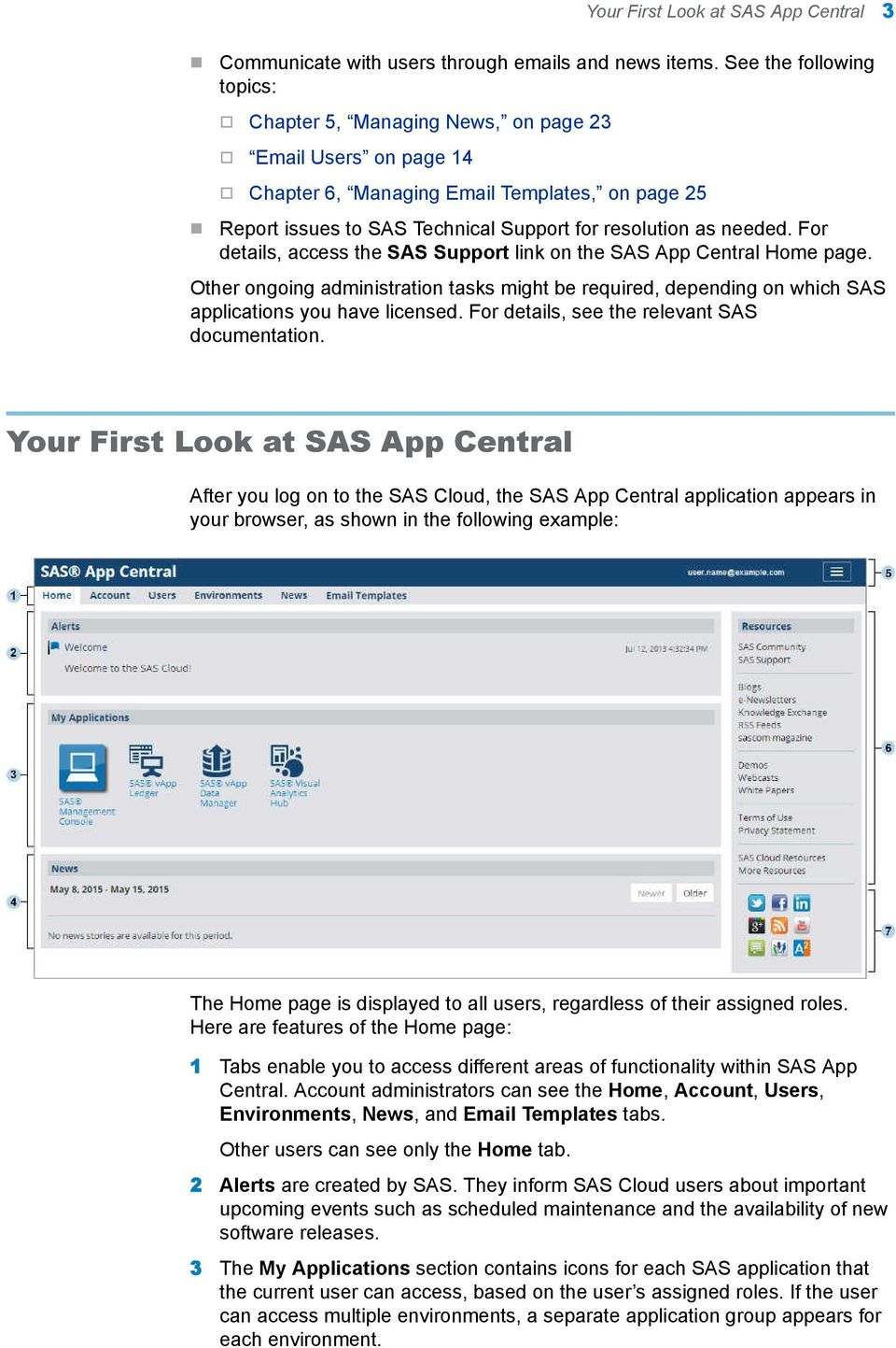 needed. For details, access the SAS Support link on the SAS App Central Home page. Other ongoing administration tasks might be required, depending on which SAS applications you have licensed.