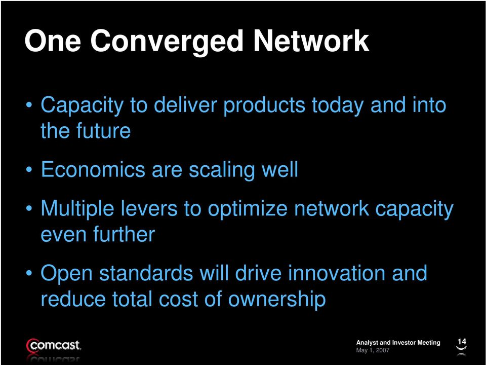 levers to optimize network capacity even further Open