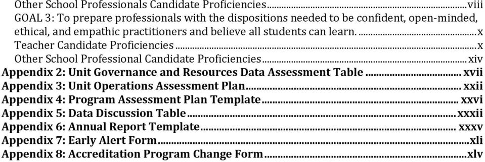 ... x Teacher Candidate Proficiencies... x Other School Professional Candidate Proficiencies... xiv Appendix 2: Unit Governance and Resources Data Assessment Table.