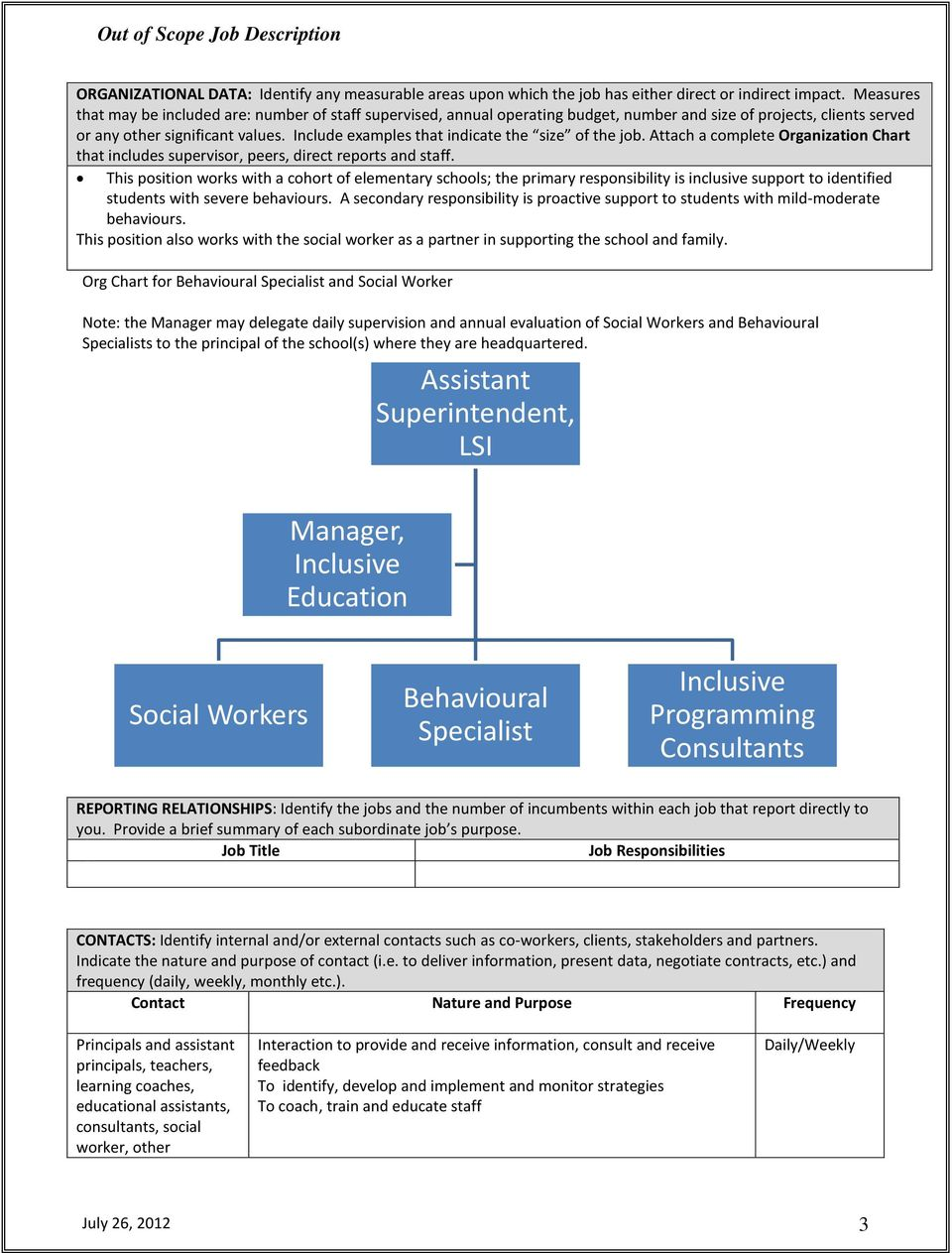 Include examples that indicate the size of the job. Attach a complete Organization Chart that includes supervisor, peers, direct reports and staff.