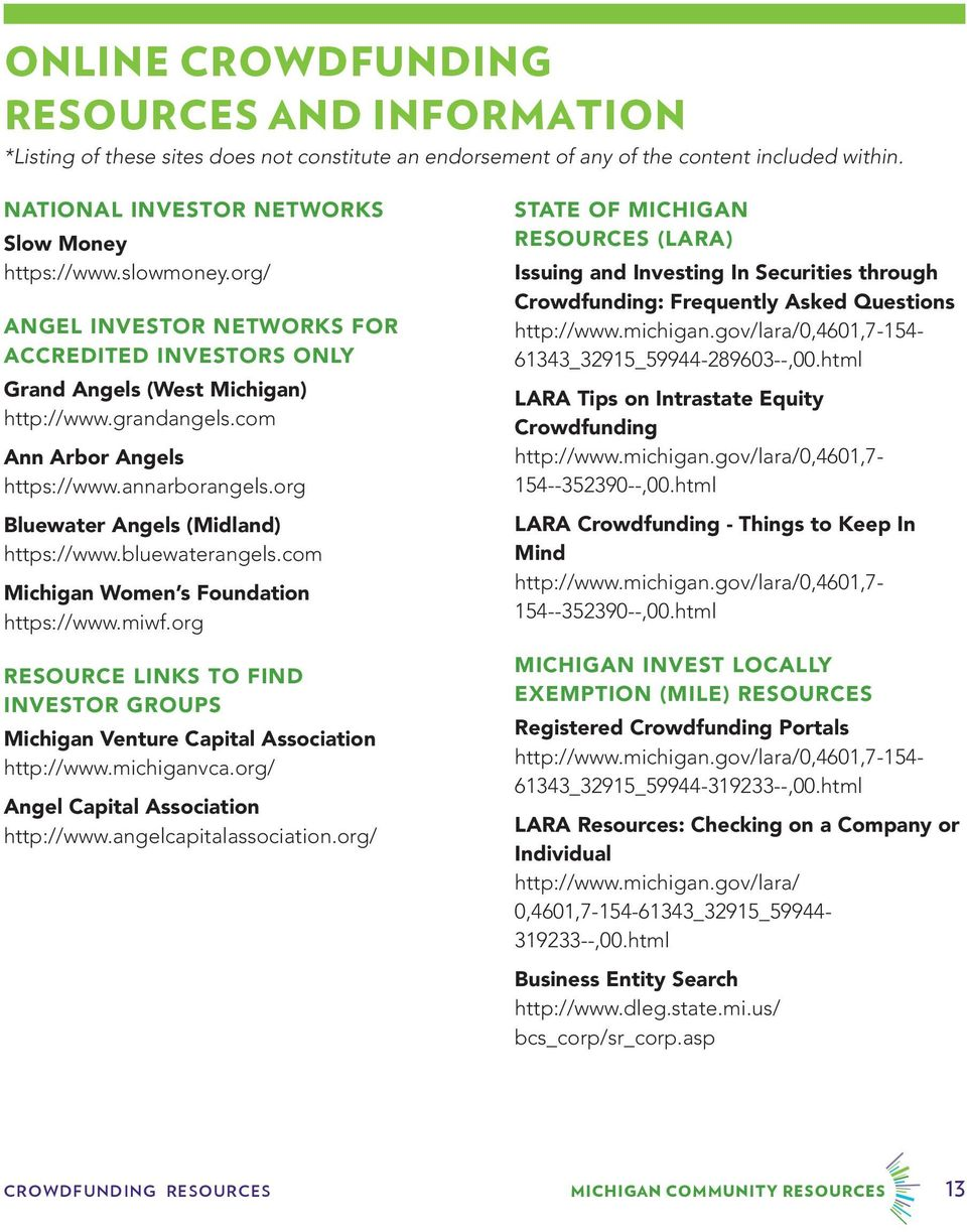 org Bluewater Angels (Midland) https://www.bluewaterangels.com Michigan Women s Foundation https://www.miwf.org RESOURCE LINKS TO FIND INVESTOR GROUPS Michigan Venture Capital Association http://www.
