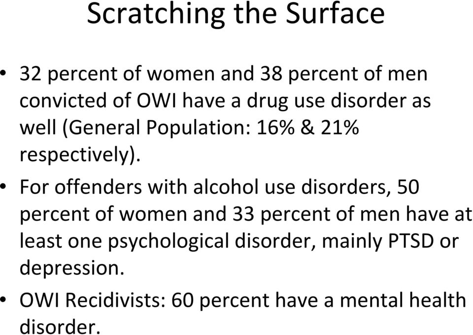 For offenders with alcohol use disorders, 50 percent of women and 33 percent of men have at
