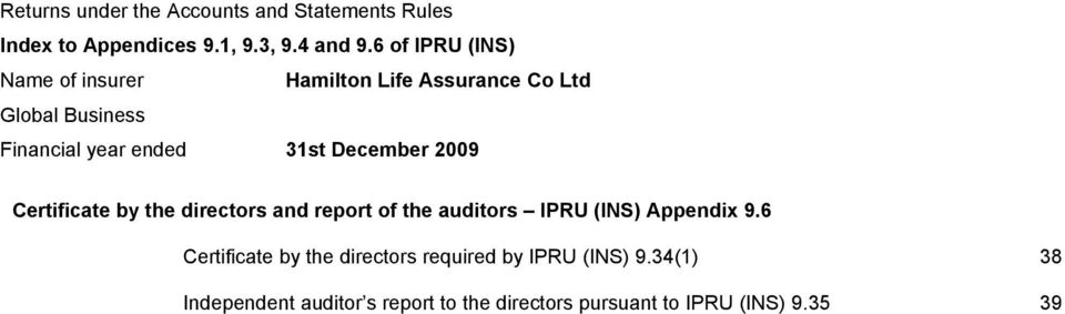 and report of the auditors IPRU (INS) Appendix 9.