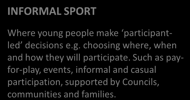 INFORMAL SPORT SPARC Strategic Plan: by sport we mean sport activities delivered primarily through organised structures that is, activities delivered by regional sport bodies, clubs and