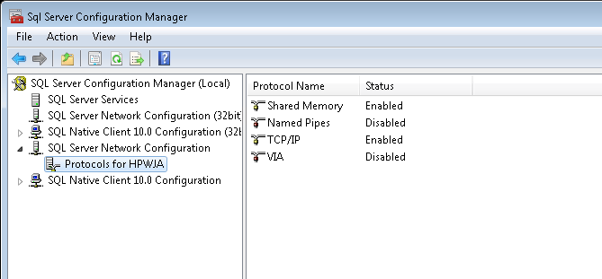 USING SQL SERVER CONFIGURATION MANAGER You must use SQL Server Configuration Manager to configure the HP Web Jetadmin SQL instance to open up the remote connection needed to get the device data.