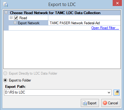 There are two ways of exporting a local or non-federal-aid collection network from Roadsoft for use in the LDC.