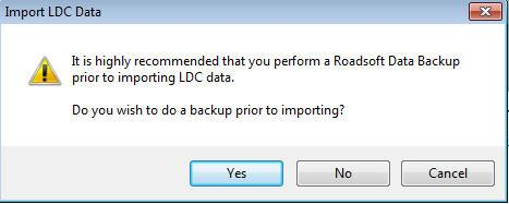 IMPORTANT: Before you import new data into Roadsoft, create a data save point for your existing Roadsoft database.
