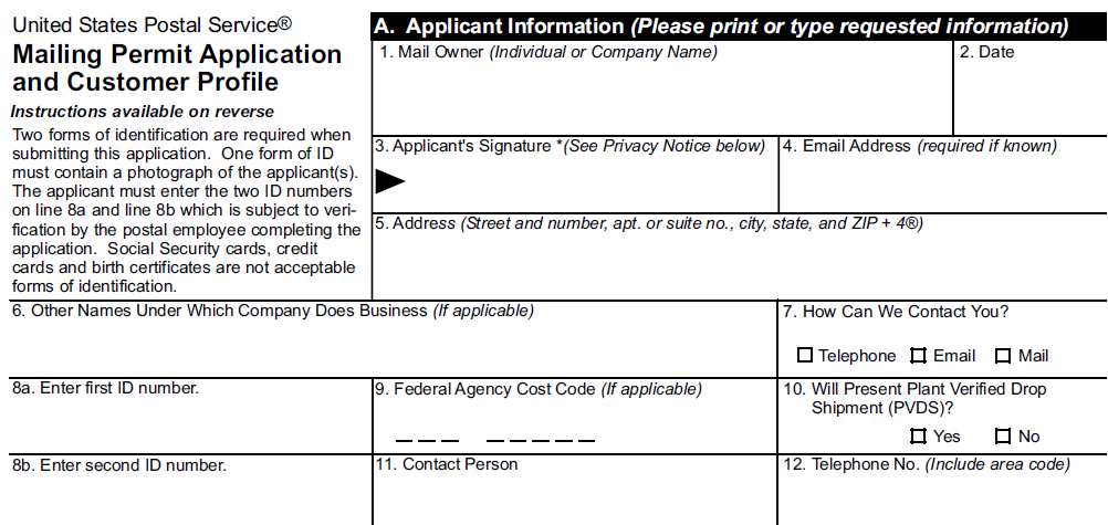 Permit Imprint Indicia Application The Applicant Information needs to be that of the client The address that will