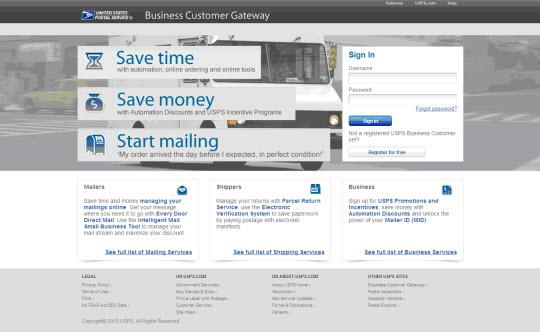 the USPS via Business Customer Gateway online Portal Clients can use the portal for
