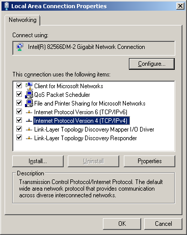 4. In the Local Area Connection Properties window click on Internet Protocol Version 4 (TCP/IPv4), and then click the Properties button. 5.