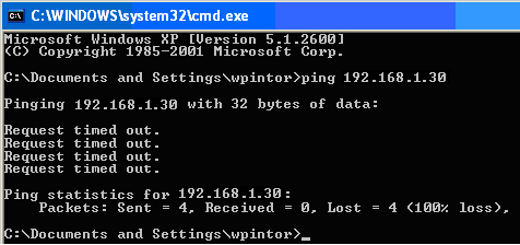 20. Try pinging the DVR, by going to the PC DOS window. Repeat steps 8, and 9. Enter Ping at the DOS prompt, space and the IP address 192.168.1.30. 21.