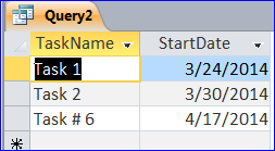 Example of using a Criteria in Query: MS Access Example of using a Criteria in Query 1) =, >, <, >=, <=, <> (not equal) comparison operator1 These operators can be used for number, currency, date and