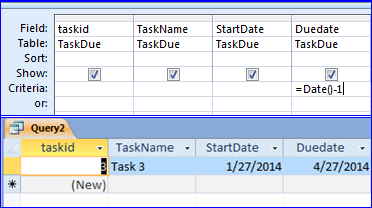 4) Using Date() and Date()-1 Date() is used in criteria to get today date like put in the DueDate field to see if any task due today (4/28/14) Date()-1 is today date -1 day is yesterday.