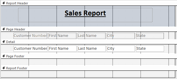 4. The selected fields will be arranged in a Tabular layout, with the labels appearing in your report header, and the fields lining up underneath. 5. From the Arrange tab, click Remove Layout.