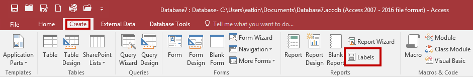 2. From the Create tab, click Labels. Figure 32 - Labels 3. The Label Wizard window appears.
