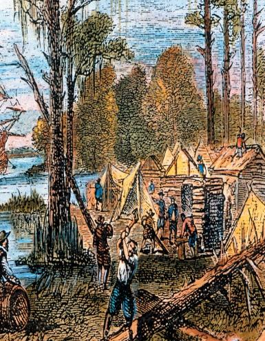 Jamestown, Virginia was the first settlement. Virginia became a colonial power economically & politically. Maryland originally set up for Catholics & quickly became place with religious freedom.