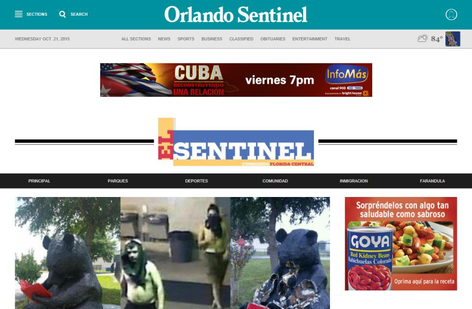 ELSENTINEL.COM Speak to Central Florida Hispanics as they are entertained and informed on our site. ElSentinel.com offers dynamic, interactive ads designed to create the visibility you require.